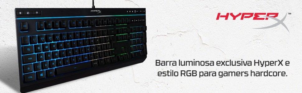 Barra luminosa exclusiva HyperX e estilo RGB para gamers hardcore.