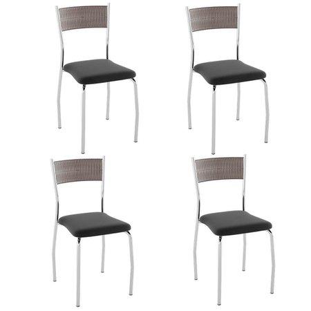 Cadeira PC07 4 Unidades - Pozza -  Junco Preto/Nobuck Preto