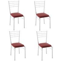 Cadeira PC10 4 Unidades - Pozza - Nobuck Vermelho