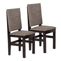 Kit com 2 Cadeiras Zamarchi em Madeira e Estofamento Tabaco