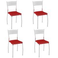 Cadeira PC08 4 Unidades - Pozza -  Junco Branco/Vermelho