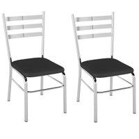 Cadeira PC09 2 Unidades - Pozza - Vinil Preto