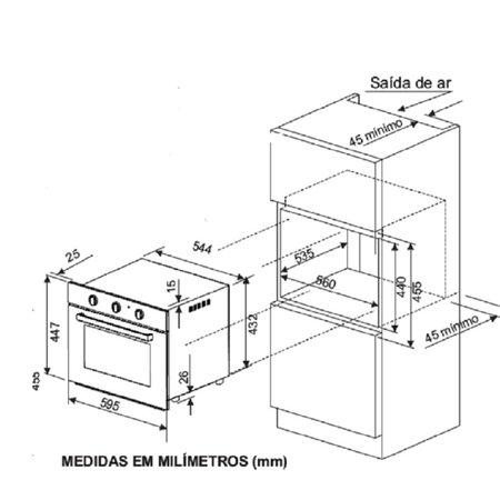 Forno Elétrico de Embutir Fischer Infinity Vidro Preto 50 Litros