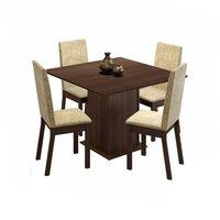 Conjunto Sala de Jantar Madesa Maggie Tampo de Madeira com 4 cadeiras