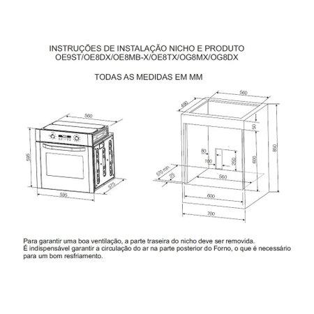 Forno a Gás de Embutir Electrolux Inox 73L OG8MX