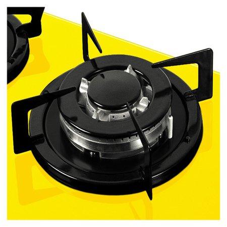Cooktop Fogatti 5 Bocas TC Vidro Amarelo com Flange Esmaltada à Gás V500TC Acendimento Automático