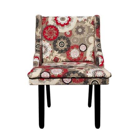 Cadeira Poltrona Decorativa Liz Estampado Floral Pés Tabaco - D'Rossi