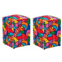 Kit 02 Puff Decorativo Dado Quadrado Estampado Romero Britto D15 - D'Rossi