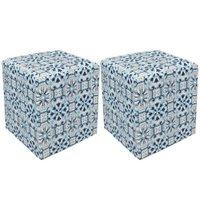 Kit 02 Puff Decorativo Dado Quadrado Estampado Azulejo D50 - D'Rossi
