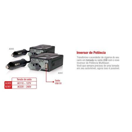 Inversor De Potência Multilaser 150W 220v Saída Usb 5V cabo de 65cm