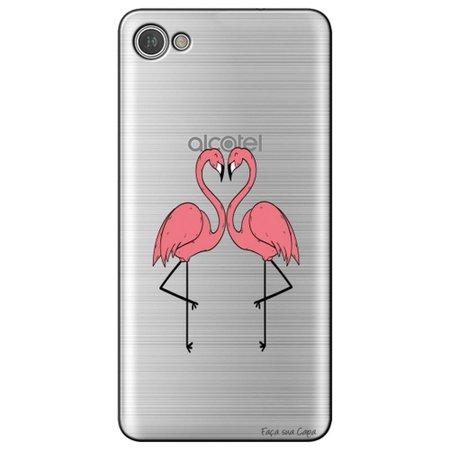 Capa Personalizada para Alcatel A5 Led - Casal Flamingos - TP316