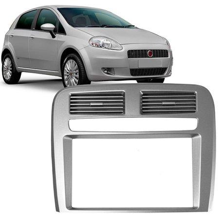 Moldura Painel 2 Din Fiat Punto 2008 a 2012 Prata