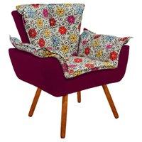 Poltrona Decorativa Opala Suede Composê Estampado Floral Color D17 e Suede - D'Rossi