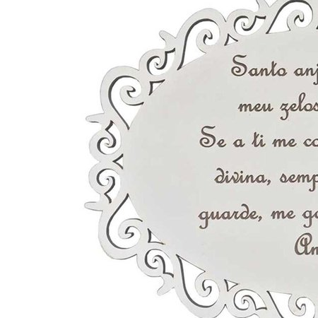 Placa Decorativa Santo Anjo Com Arabesco MDF 3mm Branco - D'Rossi