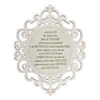 Placa Decorativa Oração Coragem Com Arabesco 25x20 MDF 3mm Branco - D'Rossi