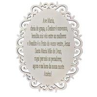 Placa Decorativa Oração Ave Maria Com Arabesco 25x19 MDF 3mm Branco - D'Rossi