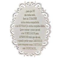Placa Decorativa Oração Coragem Com Arabesco 25x19 MDF 3mm Branco - D'Rossi