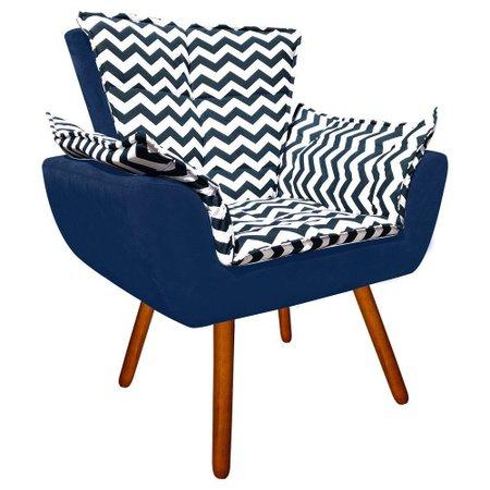 Poltrona Decorativa Opala Suede Composê Estampado Zig Zag Azul D02 e Suede - D'Rossi