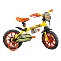 Bicicleta Aro 12 - 1 Marcha com Rodinhas Power Rex Amarela - Caloi