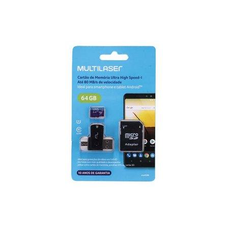 Cartão De Memória Ultra High Speed-I 64Gb Até 80 Mb/S De Velocidade Multilaser - MC152