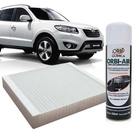 Filtro do Ar Condicionado Cabine Kia Magentis Sorento Hyundai Azera Santa Fé Sonata Trajet + Higienizador