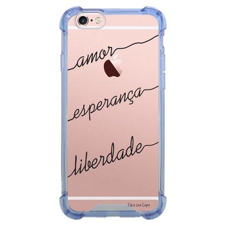 Capa Intelimix Anti-Impacto Azul Apple iPhone 6 6s Frases - TP46