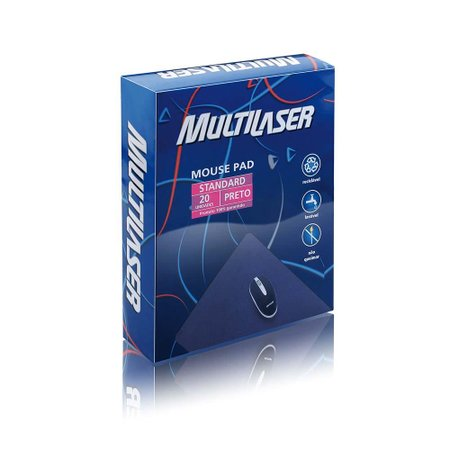 Mouse Pad Standard Preto 20 Unidades Multilaser - AC027