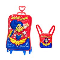 Kit Mochilete 3D com Rodas + Lancheira DC Super Hero Girls - Diplomata