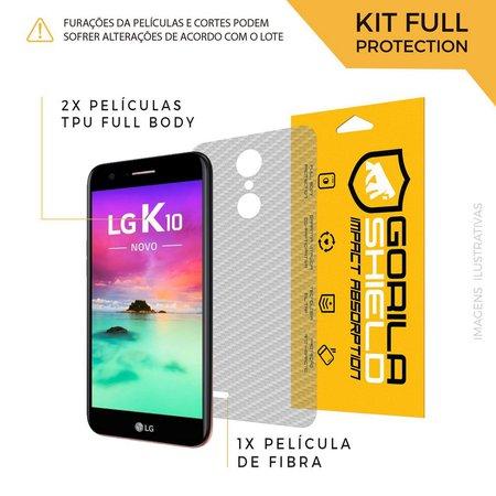 Película Nano Gel Dupla + traseira fibra de carbono para LG K10 2017 - Gorila Shield