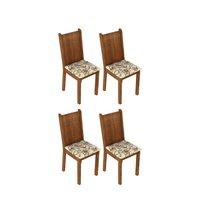 Kit 4 Cadeiras 4290 Madesa Rustic/Lírio Bege