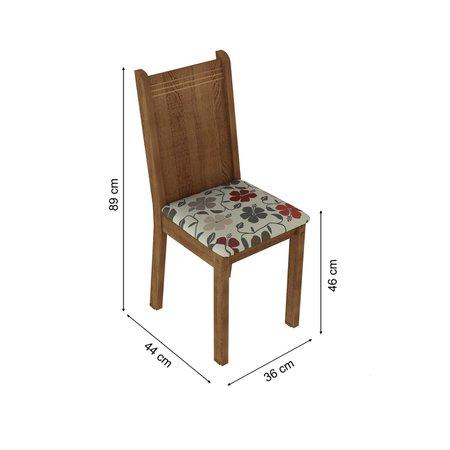 Conjunto Sala de Jantar Kate Madesa Tampo de Madeira, 4 cadeiras