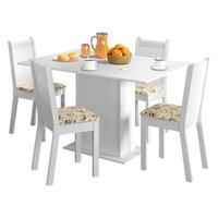 Conjunto Sala de Jantar Lexy Madesa Mesa Tampo de Madeira com 4 Cadeiras - Lírio Bege