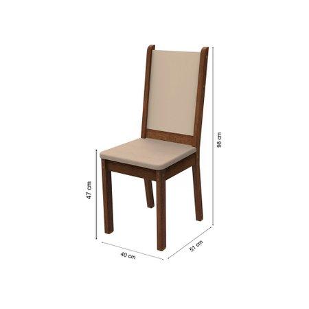 Conjunto Sala de Jantar Rita Madesa Mesa Tampo de Madeira com 4 Cadeiras