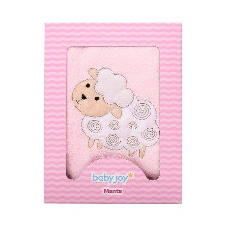 Manta Soft Bordada Ovelhinha Rosa - Baby Joy