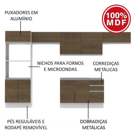 Cozinha Completa Madesa 100% MDF Acordes Glamy Com Armário e Balcão