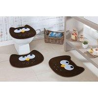 Jogo de Banheiro Formato Coruja 03 Peças Café - Guga Tapetes