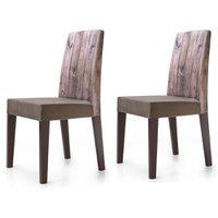 Cadeira Jantar Estampada Madeira 2 Unidades KING50E - King Móveis