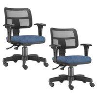 Kit 02 Cadeiras Giratórias Zip Executiva Ergonômica Escritório Tecido - Lyam Decor