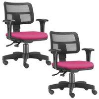 Kit 02 Cadeiras Giratórias Zip Executiva Ergonômica Escritório Suede - Lyam Decor