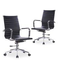 Kit 02 Cadeiras Giratórias Para Escritório Resolute Office Preto - Lym Decor