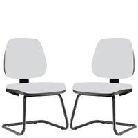Kit 02 Cadeiras Para Escritório Job Fixa Couro Sintético Branco - Lyam Decor