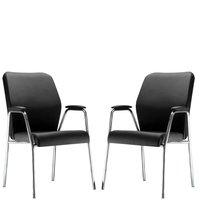 Kit 02 Cadeiras de Escritório Diretor Base Fixa Cromada Executiva Pointer Premium Couro Ecológico Preto - Lyam Decor