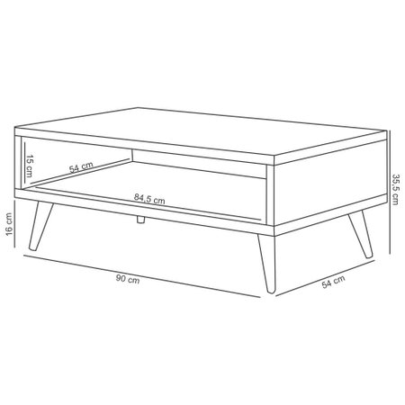 Kit 02 Mesas De Centro Decorativa Lara Deck Pés Palito - Lyam Decor