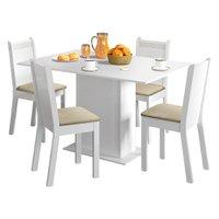 Conjunto Sala de Jantar Lexy Madesa Mesa Tampo de Madeira com 4 Cadeiras Pérola