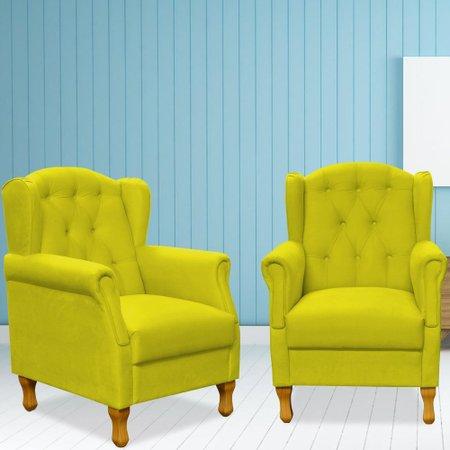 Kit 02 Poltronas Decorativas Para Sala de Estar Yara Suede - Lyam Decor