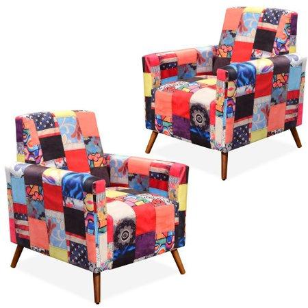 Kit 02 Poltronas Decorativas Para Sala de Estar Pés Palito Liz Patchwork - Lyam Decor