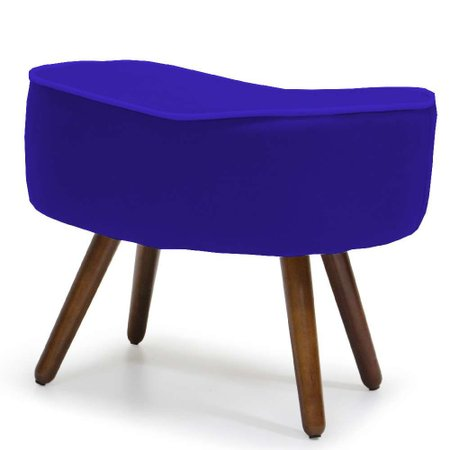 Kit 02 Puffs Banqueta Decorativa Para Sala de Estar Kora Veludo Azul B-170 - Lyam Decor