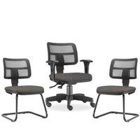 Kit Cadeira de Escritório Giratória e 02 Cadeiras Fixas Zip Linho - Lyam Decor