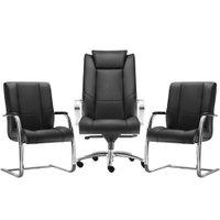 Kit Cadeira de Escritório Presidente com 02 Cadeiras Fixas New Onix Couro Ecológico Preto - Lymdecor