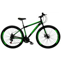 Bicicleta Aro 29 Quadro 19 Aço 21 Marchas Freio a Disco Mecânico Preto/Verde - Dropp